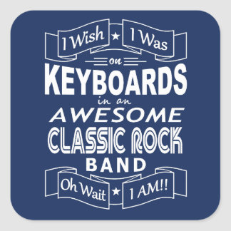 KEYBOARDS awesome classic rock band (wht) Square Sticker