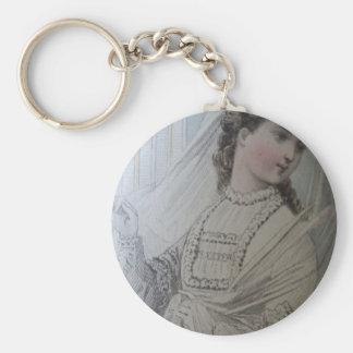Keychain, 19th century fashion illustration, attac keychain