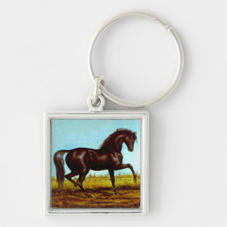 Keychain Antique Art Black Beauty Horse Canters