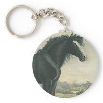 Keychain Antique Art Shire Black Draft Horse Moors