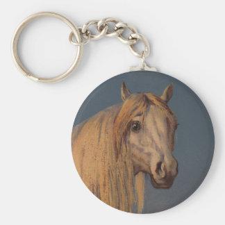 Keychain Antique Art White Arabian Stallion Horse