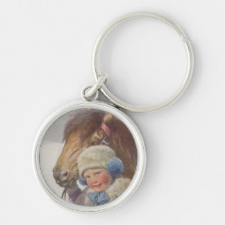 Keychain Antique Art Winter Pony Childhood Pet