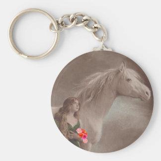 Keychain Antique Art Woman & White Horse Fantasy