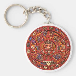 Keychain: Aztec calendar Basic Round Button Keychain