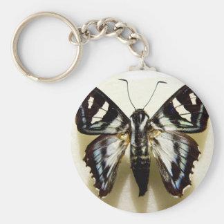 Keychain, Black/White Butterfly Basic Round Button Keychain