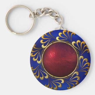 Keychain Blue Red Gold Jewel