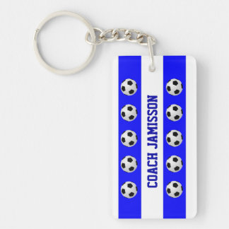 Keychain, Blue & White, for Soccer Coach, Player Keychain