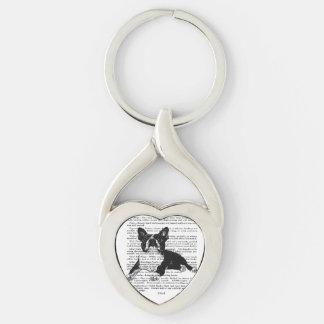 KEYCHAIN-BOSTON BULL TERRIER-HEART SHAPE Silver-Colored Heart-Shaped METAL KEYCHAIN