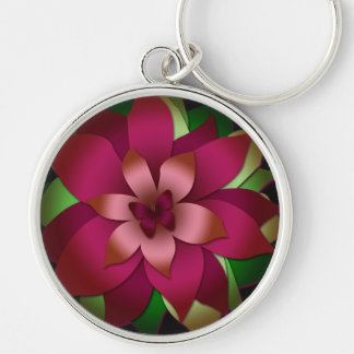 Keychain, Butterfly and Flower Design, Pink Green Silver-Colored Round Keychain