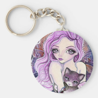 """Keychain - Cat & Fairy Art """"The Coming Storm"""""""