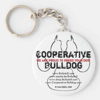 Keychain Cooperative Bulldog Llavero Redondo Tipo Pin