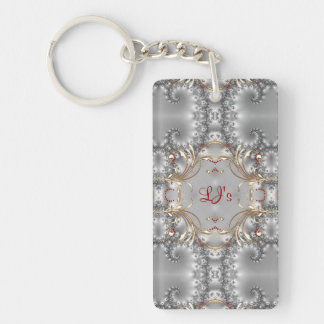Keychain - Faux Diamond + Ruby  - Vintage Styled