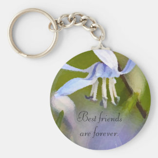Keychain for Best Friends with soft blue flowers