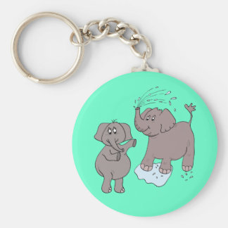 "KEYCHAIN ""funny elephants"" cartoon"