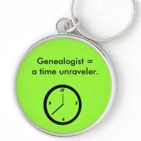 Keychain - Genealogist = a time unraveler. keychain