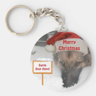 Keychain German Shepherd Santa Stop Here