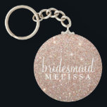 "Keychain Glitter Bridesmaid - Rose Gold<br><div class=""desc"">Glitter Keychain for Bridesmaid Gift, great to include in Heart Fab Bridesmaid Tote bag. Keychain has Bridal Party member title and place for their name, use date, couples name or any other name desired if needed. Decrease text size and/or use single space to fit longer titles and names into text...</div>"