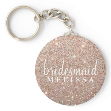 Valentines Themed Keychain Glitter Bridesmaid - Rose Gold