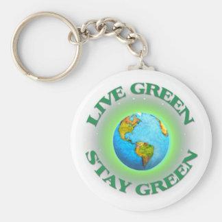 Keychain-Globel Go Green Spread the Word Basic Round Button Keychain