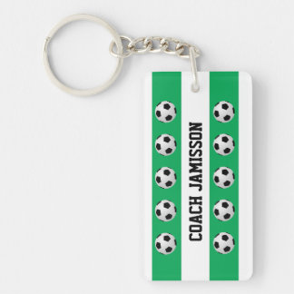 Keychain, Green & White, for Soccer Coach, Player Keychain