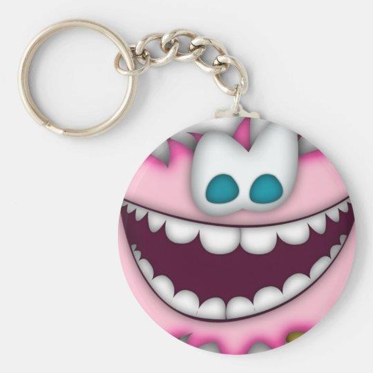 Keychain humorous pink, fuzzy cartoon creature