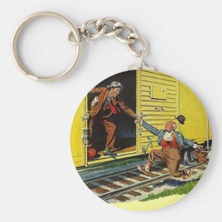 KEYCHAIN Jumping Boxcar Train Railway Free-rides