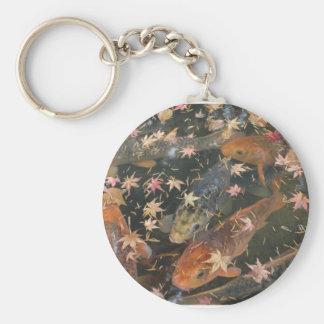 Keychain: Koi with autumn leaves Basic Round Button Keychain