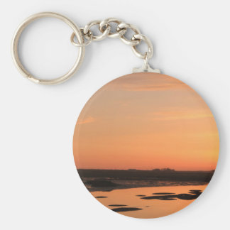 KeyChain: Lagoon at sunset Basic Round Button Keychain