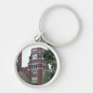 Keychain, Lane Tech with Clock Tower Silver-Colored Round Keychain