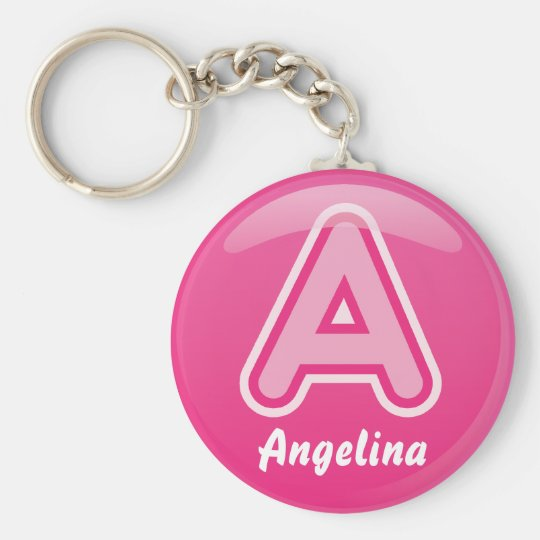 Keychain Letter A Pink Bubble