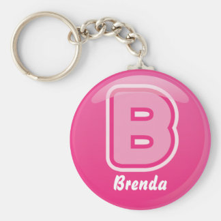 Keychain Letter B Pink Bubble
