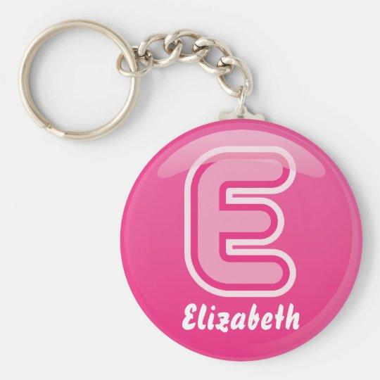 Keychain Letter E Pink Bubble