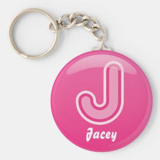 Keychain Letter J Pink Bubble