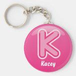 Keychain Letter K Pink Bubble