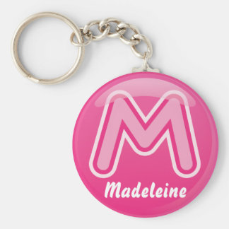 Keychain Letter M Pink Bubble