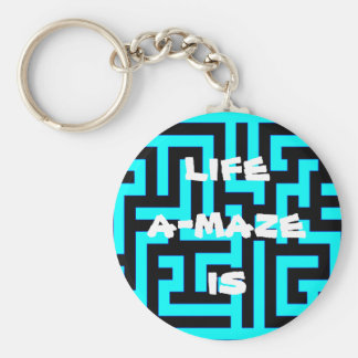 "KEYCHAIN ""LIFE A-MAZE IS"" LABYRINTH MAZE PUZZLE"