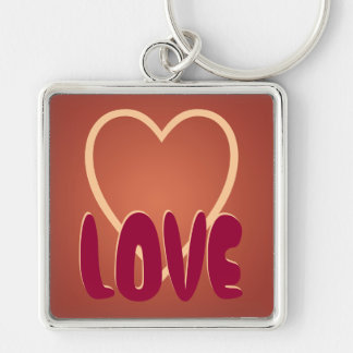 Keychain Love Heart Brown Maroon Cute Customize It