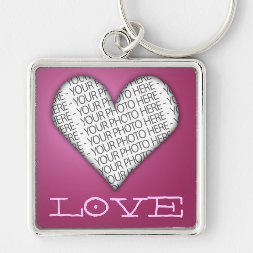 Keychain Love Heart Pink Your Photo Here