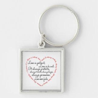 Keychain - Love is Patient Word Heart