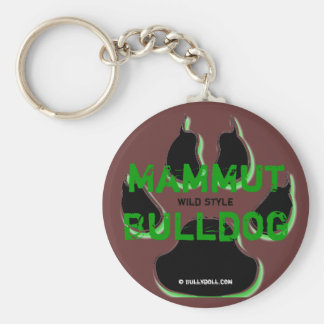 Keychain mamut Bulldog Llavero Redondo Tipo Pin