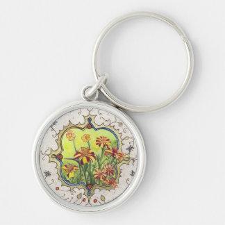 Keychain-Miniature Marigolds Silver-Colored Round Keychain