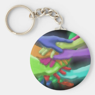 KEYCHAIN NEON FRIENDS GROUP STACKED TEAM HANDS