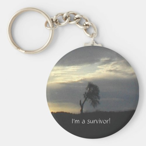 Keychain-Oak Tree, I'm a survivor! Keychain