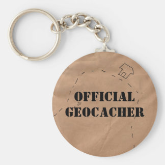 Keychain: Official Geocacher, on an Old Map Keychain