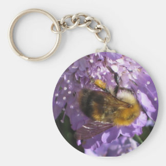 Keychain or Keyring - Bee on Scabious Flower