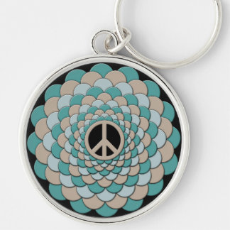 Keychain, Peace Sign, Flower of Life, Blue, Tan Keychain