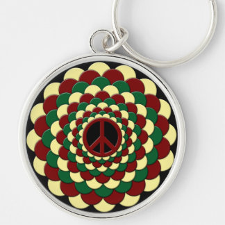 Keychain, Peace Sign, Flower of Life, Rasta Silver-Colored Round Keychain