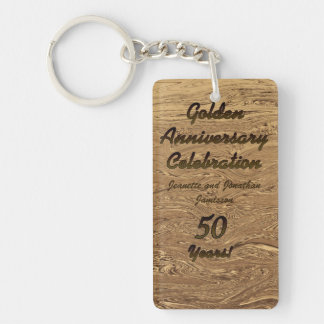 Keychain, Rect. Double Sided Golden Anniversary Double-Sided Rectangular Acrylic Keychain