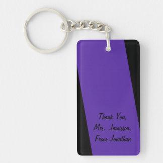 Keychain, Rectangular 2 Sided Deep Purple Stripe Keychain