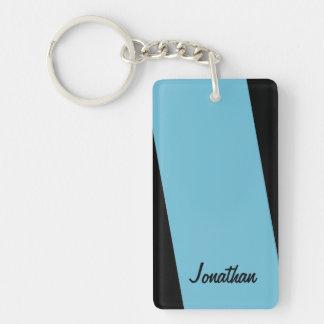 Keychain, Rectangular 2 Sided Light Blue and Black Keychain